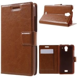 For Huawei Y360 Crazy Horse PU Leather Case with Card Slots - Brown