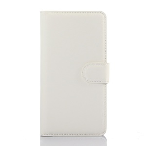 Litchi Skin Leather Wallet Cover for Huawei Honor 7 / 7 Premium - White