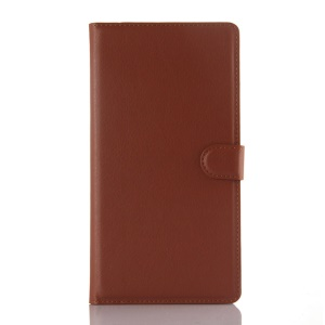Litchi Skin Leather Wallet Cover for Huawei Ascend P8 Max - Brown