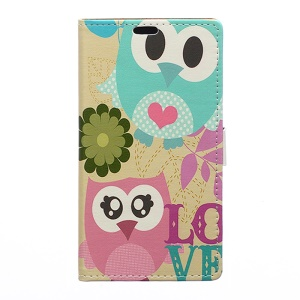 Adorable Owl LOVE Pattern Leather Wallet Cover for Huawei Honor 7