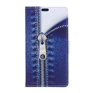 Jeans Metal Zipper Leather Wallet Cover Case for Huawei Honor 7 / 7 Premium