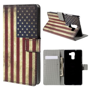 Vintage American Flag for Huawei Honor 7 Wallet Stand Leather Cover