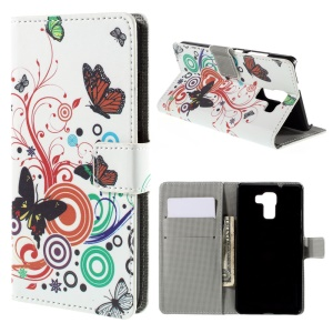 Butterflies and Circles for Huawei Honor 7 Leather Stand Shell