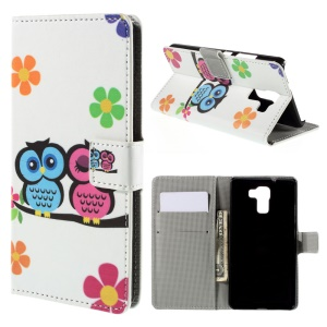 Owl Lovers Leather Stand Cover for Huawei Honor 7