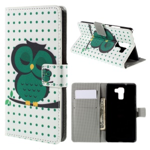 Green Napping Owl Leather Stand Cover for Huawei Honor 7