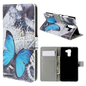 Blue Butterfly Leather Stand Cover for Huawei Honor 7 / 7 Premium