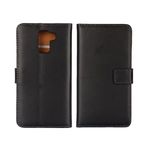 Genuine Split Leather Wallet Case for Huawei Honor 7 / 7 Premium with Stand - Black