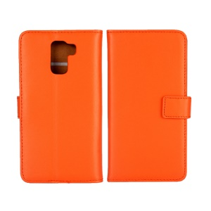 Wallet Stand Genuine Split Leather Protector Case for Huawei Honor 7 / 7 Premium - Orange