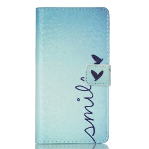 PU Leather Wallet Case Cover for Huawei Ascend P8 Lite - Word Smile and Butterfly