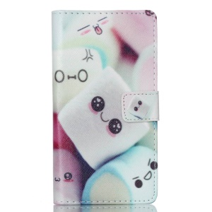 Leather Flip Wallet Case Cover for Huawei Ascend P8 Lite - Cute Marshmallow
