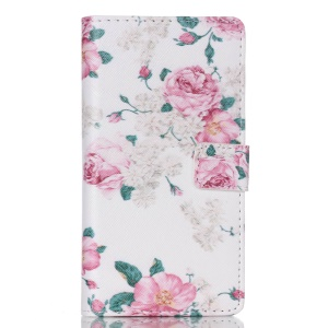 Magnetic Leather Flip Case for Huawei Ascend P8 Lite - Rosa Multiflora