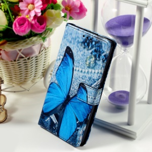 Callfree for Huawei Ascend P8 Lite Leather Wallet Stand Shell - Vivid Blue Butterfly