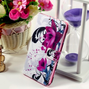 Callfree for Huawei Ascend P8 Lite Flip Leatherette Stand Card Holder Case - Kapok Flower