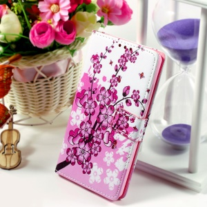 Callfree for Huawei Ascend P8 Lite Leather Protective Wallet Stand Shell - Wintersweet Flower