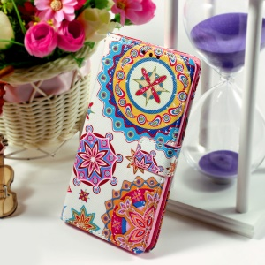 Callfree for Huawei Ascend P8 Lite Protective Wallet Leather Phone Cover - Mandala Flowers