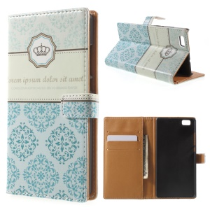 Leather Wallet Case for Huawei Ascend P8 Lite - Blue Damask and Crown