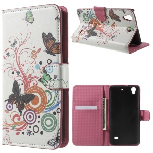 Magnetic Leather Stand Cover Case for Huawei Ascend G620S - Butterfly Circles