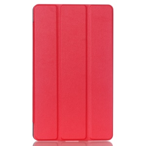 Tri-fold Stand Lychee Leather Cover for Huawei MediaPad M2 8.0 - Red