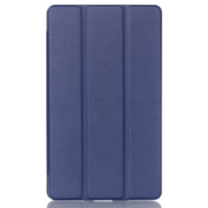 Tri-fold Stand Lychee Leather Cover for Huawei MediaPad M2 8.0 - Dark Blue