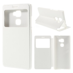 View Window Leather Stand Case for Huawei Mate S - White