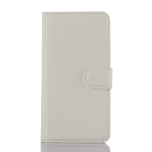 Litchi Skin Wallet Leather Stand Cover for Huawei ShotX / Honor 7i - White