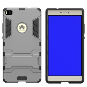 Snap-on PC + TPU Hybrid Cover for Huawei Ascend P8 with Kickstand - Grey