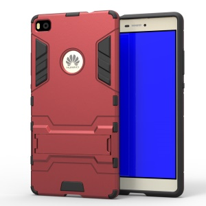 Snap-on PC + TPU Hybrid Shell for Huawei Ascend P8 with Kickstand - Red