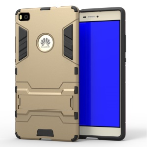 Snap-on PC + TPU Hybrid Case Cover for Huawei Ascend P8 with Kickstand - Gold