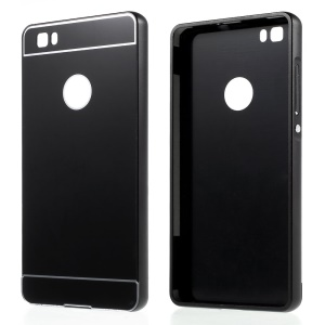 Metal Bumper Slide-on Plastic Back Case for Huawei Ascend P8 Lite - Black