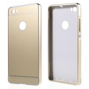 Metal Bumper Slide-on Plastic Back Shell for Huawei Ascend P8 Lite - Gold