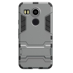 2 in 1 PC + TPU Hybrid Case with Kickstand for Google Nexus 5 (2015) - Grey
