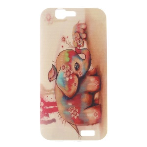 Ultra-thin Gel TPU Cover for Huawei Ascend G7 - Flower Elephant