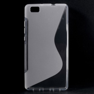 S Shape TPU Case Cover for Huawei Ascend P8 Lite - Transparent