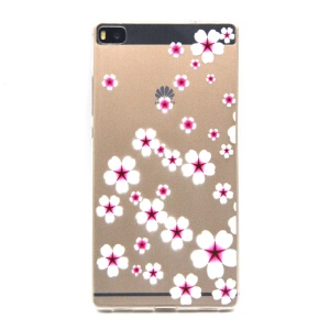 Embossment Slim TPU Gel Skin Shell for Huawei Ascend P8 - Starfish Flower