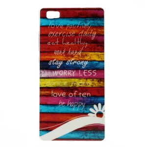 Glossy TPU Case Cover for Huawei Ascend P8 Lite - Colorful Stripes Wood and Quotes