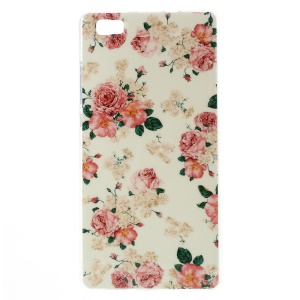 For Huawei Ascend P8 Lite Glossy Soft TPU Skin Cover - Seamless Roses Flower
