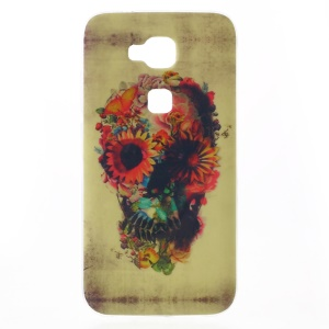 Patterned TPU Phone Case for Huawei G8 - Flower Skull