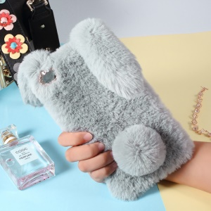 Rabbit Shape Fluffy Fur Coated Rhinestone TPU Cover Case for Huawei Ascend P8 Max - Light Grey