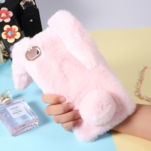 Rabbit Shape Fluffy Fur Coated Rhinestone TPU Protective Case for Huawei Ascend P8 Max - Pink