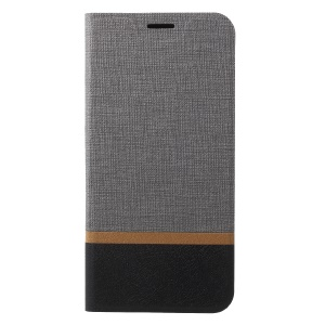 Cross Texture Leather Stand Cover Shell with Card Slot for Huawei P20 Pro Built-in Steel Sheet - Grey
