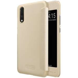 NILLKIN Sparkle Series Window View Smart Leather Folio Shell Case for Huawei P20 - Gold