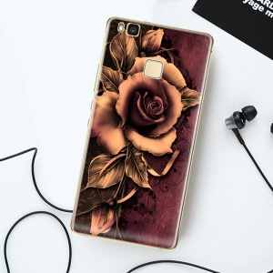 Softlyfit Embossment Flexible TPU Cell Phone Case for Huawei P9 Lite / G9 Lite - Gothic Rose
