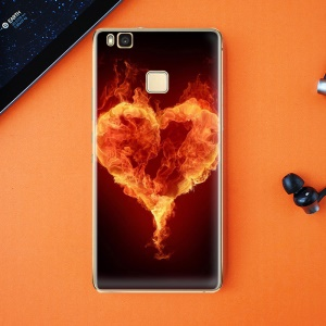 Softlyfit Embossed Flexible TPU Back Phone Case for Huawei P9 Lite / G9 Lite - Burning Flames