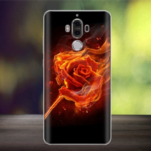 Softlyfit Embossing Pattern TPU Phone Shell for Huawei Mate 9 - Rose on Fire