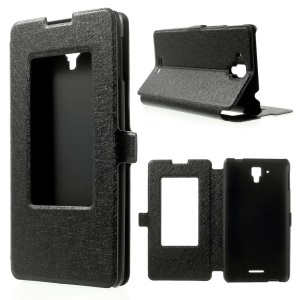 Silk Texture Window View Leather Stand Case for Lenovo Golden Warrior S8 - Black