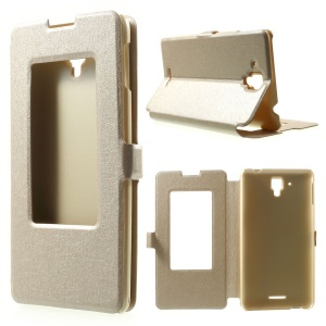 Silk Texture Window View Leather Case for Lenovo Golden Warrior S8 w/ Stand - Champagne