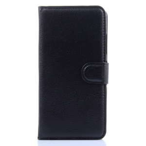 For Lenovo Sisley S90 Litchi Texture Leather Wallet Stand Cover Case - Black