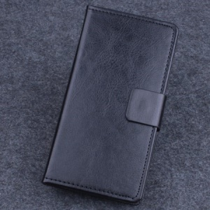 Crazy Horse Leather Stand Case for Lenovo A536 w/ Card Slots - Black