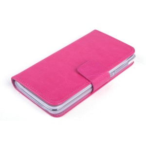 Crazy Horse Card Slots PU Leather Shell for Lenovo A328 A328T with Stand - Rose