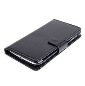 For Lenovo S650 Crazy Horse Leather Folio Case with Card Slots - Black
